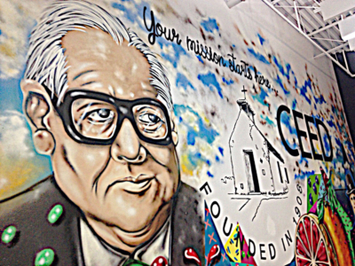 Former U.S. Rep. Kika de la Garza is featured in a mural at the Mission Economic Development Corp. offices. (VBR)