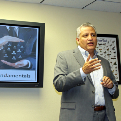 Human resources expert Dr. Marco Garza talks with business people about progressive discipline in the workplace. (VBR)