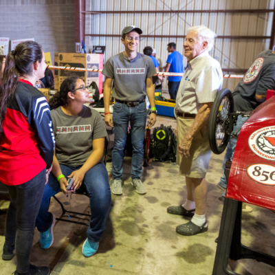 UTRGV students collaborate on last-minute details during the GreenpowerUSA South Texas Electric Car Competition. (Courtesy)