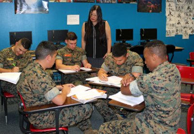 MMA teacher Li Wang supervises a group of cadets in her Chinese language and culture class. (VBR)