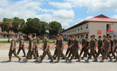 The MMA Corps of Cadets pass in review before heading to the mess hall for lunch. (VBR)