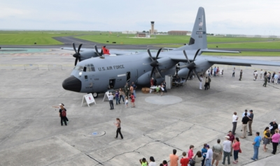 The 2018 NOAA Hurricane Awareness Tour will feature a U.S. Air Force WC-130J Hurricane Hunter aircraft May 7 at McAllen International Airport. (photo NOAA)