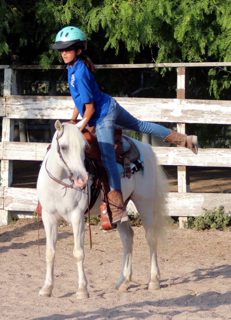 After checking her horse's equipment, a student mounts her horse for a ride. (VBR)