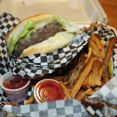 A burger and fries basket served at The Palm Lounge. (VBR)