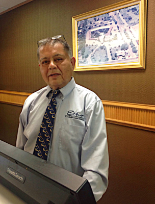 Joe Nunez, with more than 30 years experience at the Echo Hotel, mans the front desk. (VBR)