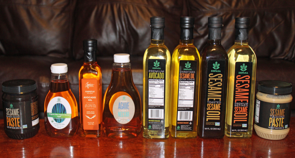 Some of the many oils, nectar and tahini made and distributed by Dipasa. (VBR)