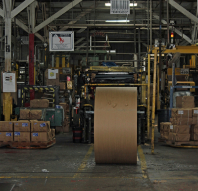 A roll of paper in position to be loaded onto a bag-making machine at Duro Bag at the Port of Brownsville. (VBR)