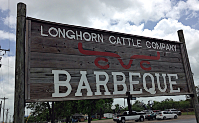 Longhorn's sign along the expressway in San Benito reflects the rustic feel of the restaurant. (VBR)