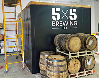 Beer barrels at the 5X5 Brewing Co. in Mission. (Courtesy)