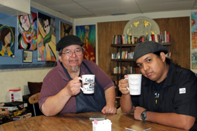 Owner Martin Leal and his son Marty enjoy coffee at the family-owned coffeehouse Angelita's. (VBR)