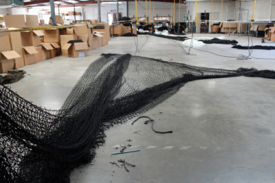 Netting spread out in the San Benito production facility, although most of the company's products are fabricated in a maquiladora in Valle Hermoso, Mexico. (VBR)