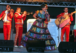 Mariachis perform at Noche de Garibaldi in downtown Brownsville. The musical event was patterned after the music scene in Mexico City's Garibaldi Plaza. (VBR)