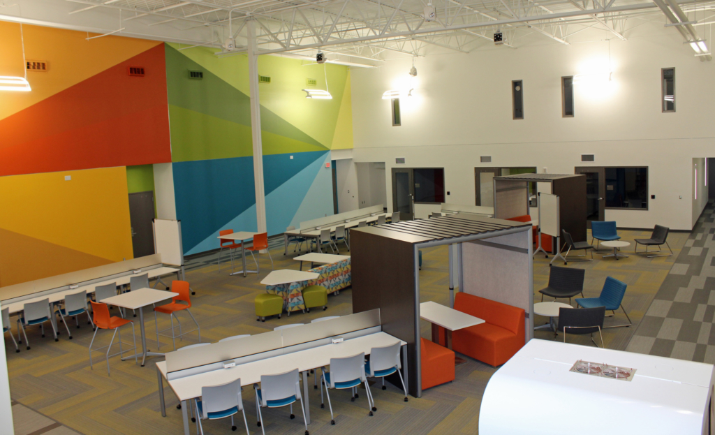 A large open area offers individual work stations at the Center for Innovation and Commercialization. Private offices are also available for lease by businesses. (VBR)