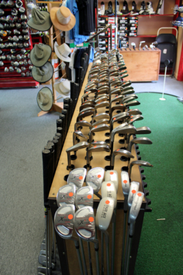 A wide variety of golf clubs and accessories fill the space at Elliott's Custom Golf. (VBR)