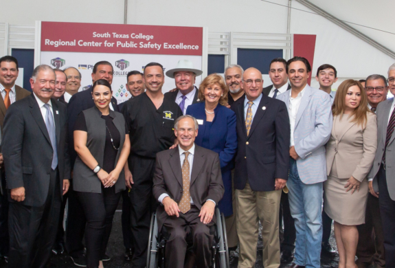 Texas Gov. Greg Abbott joins South Texas College for a grand opening and building dedication ceremony for its Regional Center for Public Safety Excellence Sept. 18. (photo STC)