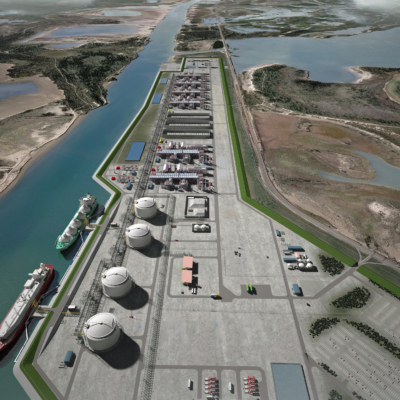 A rendering of what the Rio Grande LNG plant at the Port of Brownsville would look like upon completion. (Courtesy)