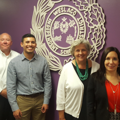 Weslaco Chamber of Commerce President/CEO Doug Croft, nCourage Program Committee Chair Luis Reyes, Weslaco ISD Assistant Superintendent Sue Peterson and Weslaco ISD Superintendent Priscilla Canales