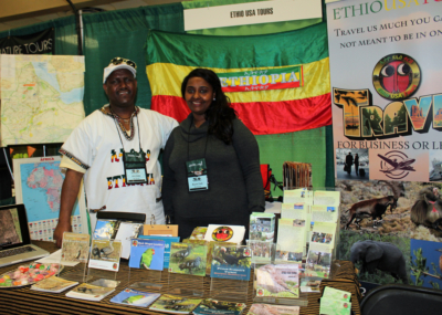 President and owner of Ethio USA Tours Abera Abebe (left) and his assistant were ready to discuss Ethiopian nature tour opportunities at the RGV Birding Festival. (VBR)