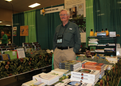 Alamo Inn bed and breakfast owner Keith Hackland at his booth at the RGV Birding Festival. (VBR)