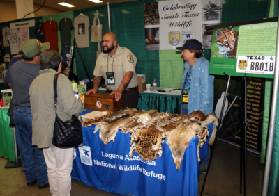 Laguna Atascosa National Wildlife Refuge staff share information about the nature preserve with visiting birders. (VBR)