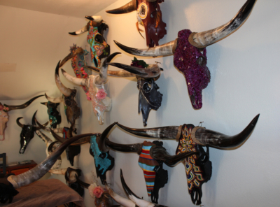 Ida Rodriguez's creations on display in the studio of her Alton home. (VBR)