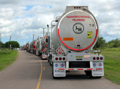 Mexican trucks line up at the Port of Harlingen to receive diesel fuel for consumption south of the border. (VBR)