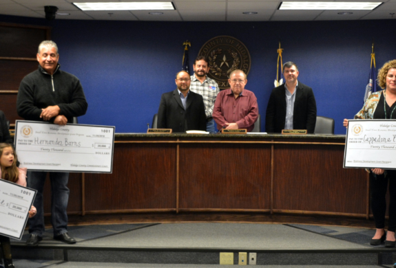 STED grant winners with Hidalgo County Commissioners Court members