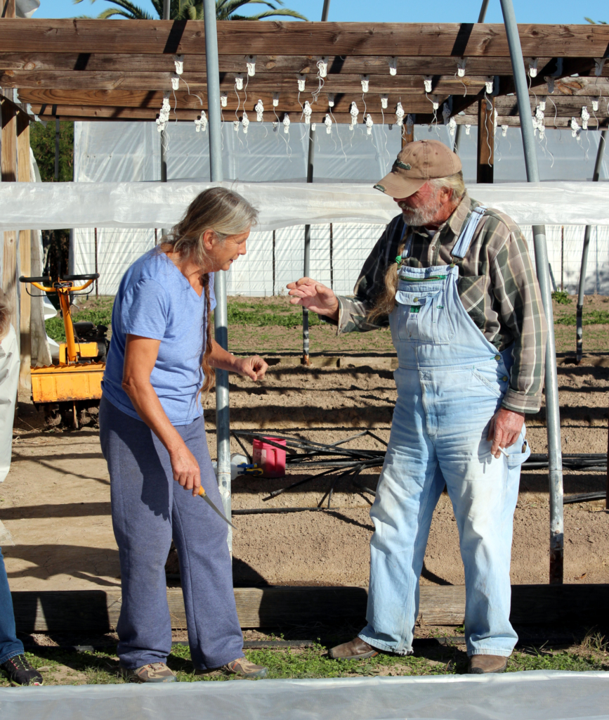 Susanne and Bud Cooke discuss the raising of the canopy on a greenhouse at Acacia Farms. (VBR)