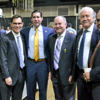 Alex Meade, third from left, at a recent Pharr City Commission meeting where he was named the new city manager.