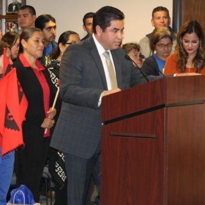 Hidalgo County Criminal District Attorney Ricardo Rodriguez Jr. announces the Buffett-McCain Institute Initiative to Combat Modern Slavery grant.