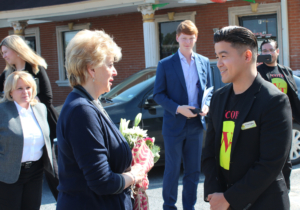 WycoTax owner Christopher Wycoco presented a bouquet of flowers to SBA Administrator Linda McMahon on her visit to Harlingen. (VBR)