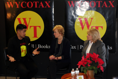 WycoTax owner Christopher Wycoco, SBA Administrator Linda McMahon (center) and SBA District Executive Director Angela Burton discussed the importance of small businesses to the local economy. (VBR)