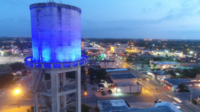 A view from above downtown Weslaco, where the economic development corporation is helping developers renovate commercial buildings in the central business district. (Courtesy)