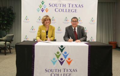 STC President Shirley A. Reed and Universidad Tamaulipeca President Oscar W. Aguilar Rodriguez (photo STC)