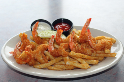 Al's cowboy-style fried shrimp is a signature dish served up at all the family's restaurants. (VBR)