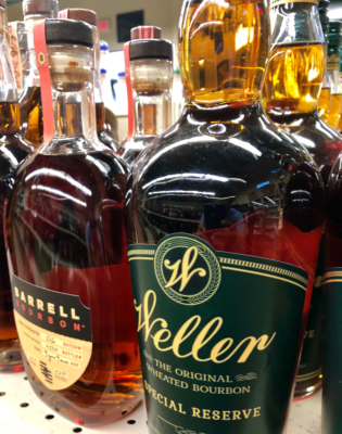 Premium liquors like these bourbon brands are featured at Holiday Wine and Liquor stores in the Rio Grande Valley. (VBR)