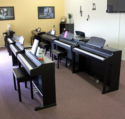 A classroom where adults, a growing customer demographic for Valley Keyboards, can take group lessons. (VBR)