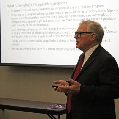 Keith Patridge, president and chief executive officer of the McAllen Economic Development Corporation, discusses the maquiladora program and its continued growth along the U.S.-Mexico border. (VBR)