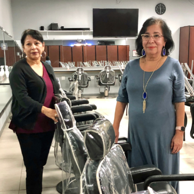 Partners Angie Moreno and Janie Garza Reyes started Advanced College & Hair Design in Weslaco 30 years ago.