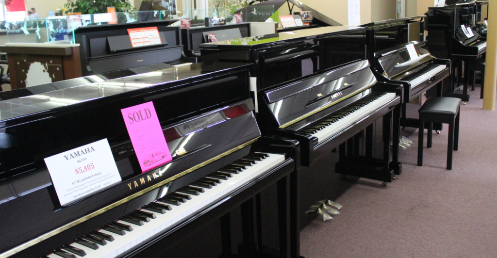 The showroom at Valley Keyboards in McAllen displays traditional pianos, digital pianos and organs. (VBR)