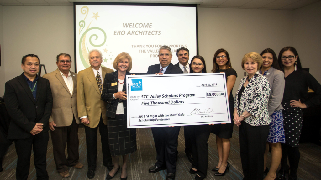 Representatives from ERO Architects and South Texas College came together for a check presentation April 22. Funds will benefit Valley Scholar students. (photo STC)