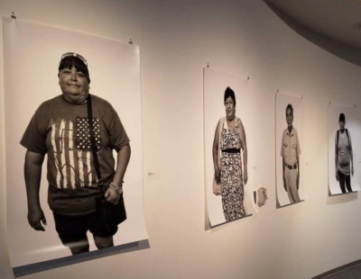 A series of large photographs show some of the people that help tell the story of San Benito's history. (Courtesy)