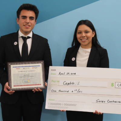 First-place winners Ulises Guerrero and Anel Cuarenta of Sharyland High School