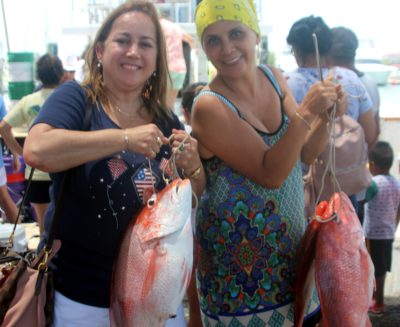 These two anglers from Monterrey, Mexico, could not be any happier as each of them caught their limits deepsa fishing.