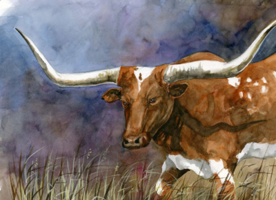 The Texas longhorn is an iconic symbol of the Lone Star State captured in this painting. (Don Breeden)