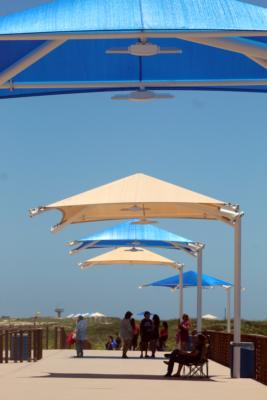 Some of the dozens of new umbrellas built along the park boardwalk.