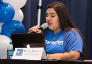 Panelist Briana Pedraza asks questions of the MISD School Board candidates.