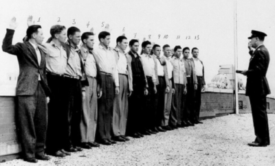Young men from Weslaco, including Harlon Block, enlisting together into Marines in 1943.
