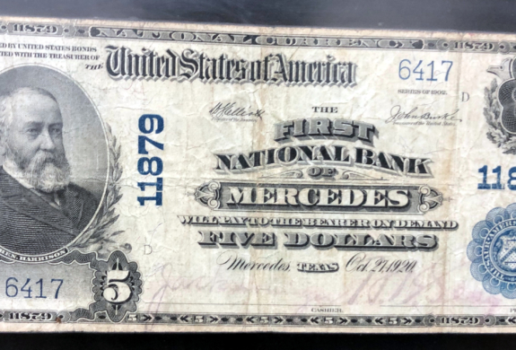 A commemorative bill marking launch of First National Bank of Mercedes in 1920.