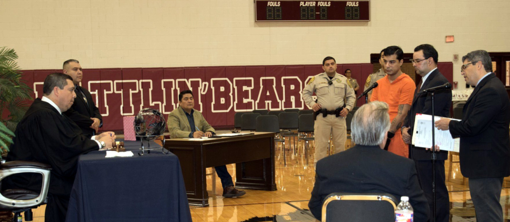 Judge Luis Singleterry conducts Court in Schools at PSJA High School. (photo PSJA ISD)